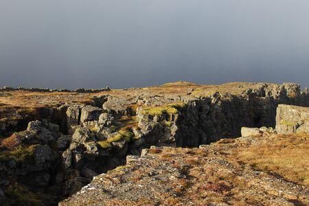 Eurasian and North-American plate boundaries that run through Iceland.