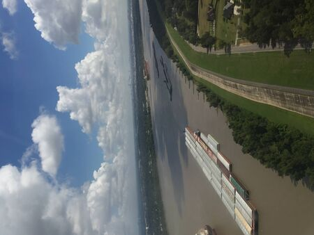 flying over Mississippi River cargo ships in Louisiana