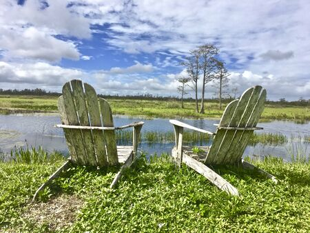 chairs on the river bank in the swamp
