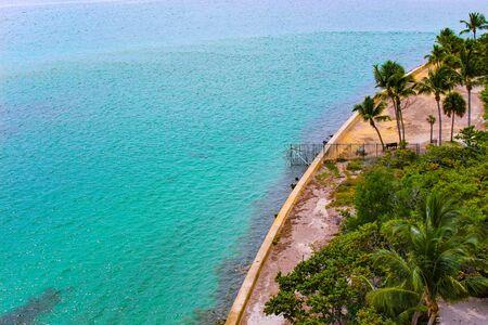 looking down on tropical blue ocean