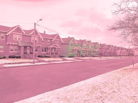 colorful homes in Wisconsin Winter Banque d'images - 137571899