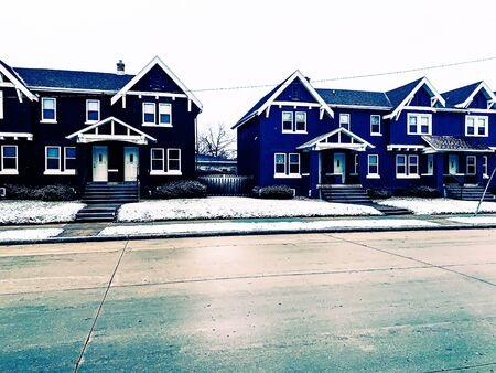 colorful homes in Wisconsin Winter