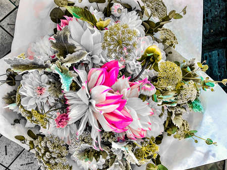 selective color green and white flower bouquet