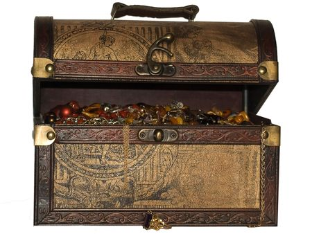 A wooden treasure chest filled with loot.  Stock Photo - 4646952