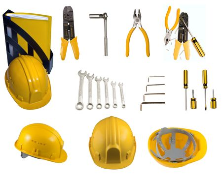 Set of tools and helmets Stock Photo