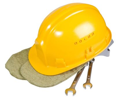 Yellow helmet, mittens, instrument for work