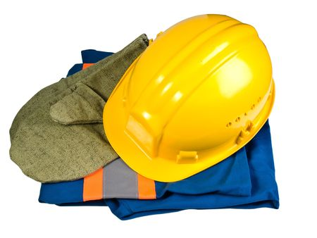 Clothes for work and helmet on a white background Stock Photo - 4674600