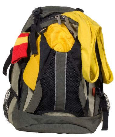 Backpack with clothes  isolated on white background Stock Photo
