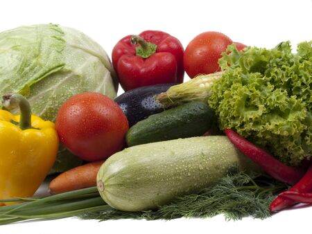 Full frame photograph of a broad variety of vegetables; colorful and plentiful  Stock Photo