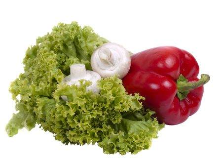 pepper, mushrooms and lettuce isolated on white background  photo