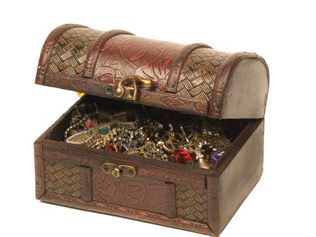 stash: Old wooden chest for treasures isolated on white