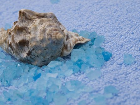 Marine salt, cockleshell and blue towel photo