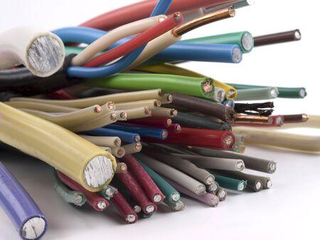 Verschiedene elektrische Kabel. Kupfer, Aluminium, Kern, Leiter. Lizenzfreie Bilder