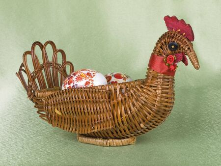 braiding: Easter eggs are in a braiding basket Stock Photo