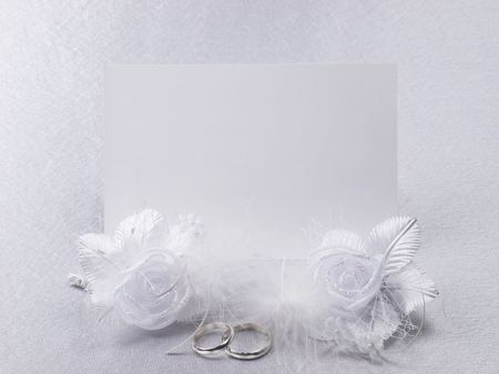 Silver wedding rings on a card  Stock Photo