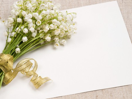 Card for congratulation  and lily of the valley  photo