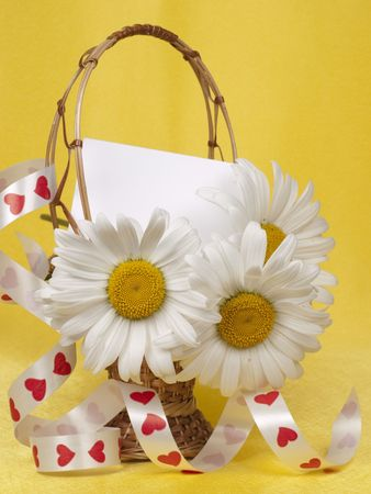 Card for text and chamomile in a small basket photo