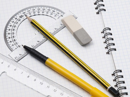 workbook: protractor, pen, pencil, rules and workbook page