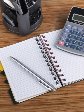 Opened business diary, pen and calculator Stock Photo - 7699632