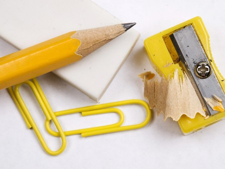 shot of eraser,  pencil and  pencil yellow sharpener photo