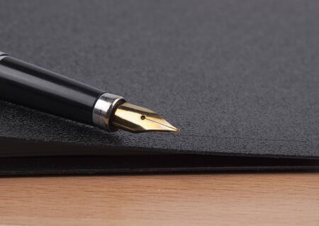 Pen  and  black folder for documents photo