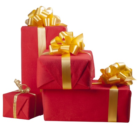 many red gift boxes on on a white background