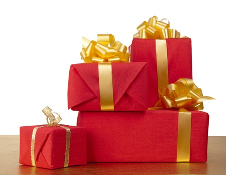 many red gift boxes on on a white background photo