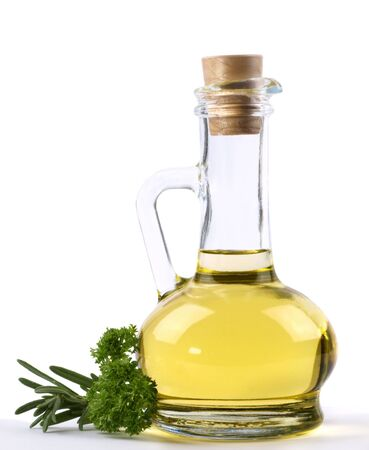 Branch rosmarinus, parsley  and a bottle of vegetable  oil isolated on white Stock Photo - 8614020