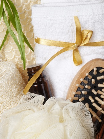 Set for the care of body in a  small basket photo