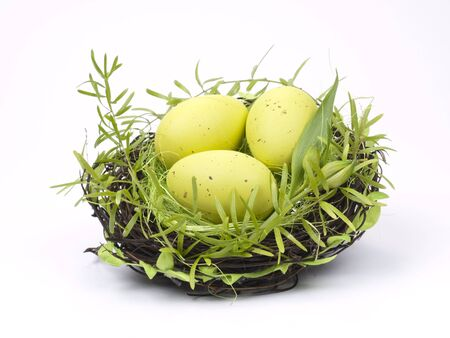 Easter Eggs in a nest on a white  background
