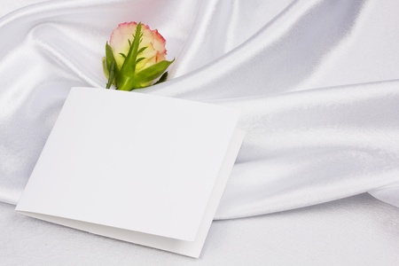 Beautiful rose and card for your text on a background white silk photo
