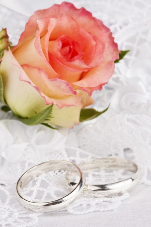 Beautiful rose and wedding rings  on a background white silk Stock Photo - 10344702