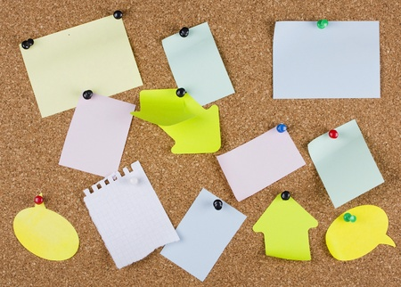 collection of various note papers on an corkboard photo