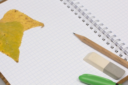 Opened school notebook and pencil, pen, eraser, leaves Stock Photo - 10413783