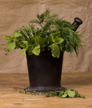 Old cast-iron mortar with green spices Stock Photo