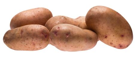 unwashed: Potatoes on a white background