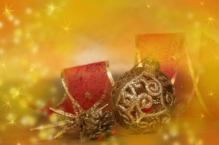 Christmas still life with decorations and  gifts photo