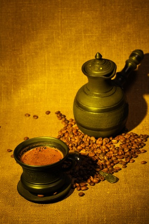 cezve: Still life with coffee beans and cezve