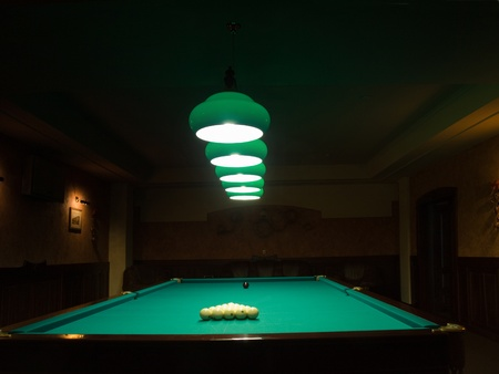 billiards room: Room for playing billiards Stock Photo