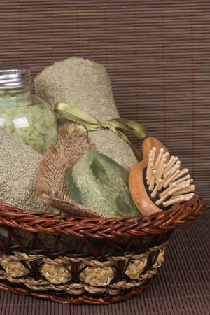 Set for the care of body in a  small basket Stock Photo - 12634286