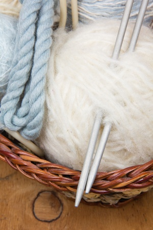 dense mats:  knitting needles and skein of white wool