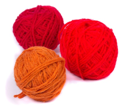 Red  Balls of yarn on  a white background photo