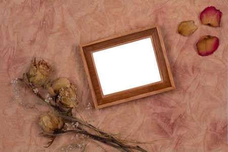 Bouquet of dried flowers and Photo Frame Stock Photo - 13323693