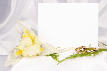 card for text  on white silk photo