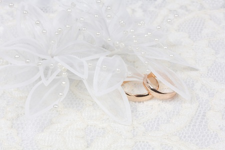 weddings accessories on a white  lace Stock Photo