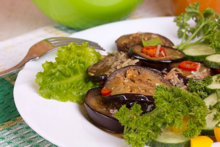 stewed eggplant with garlic and hot pepper photo