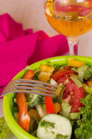 Vegetable salad on the table photo