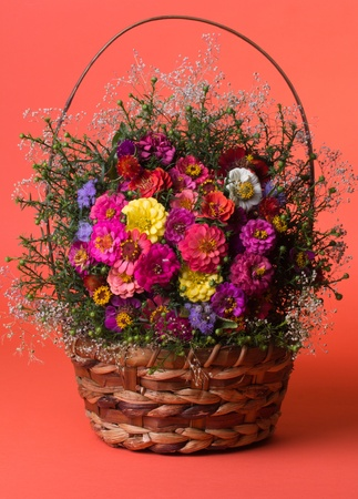Autumn flowers in a basket photo