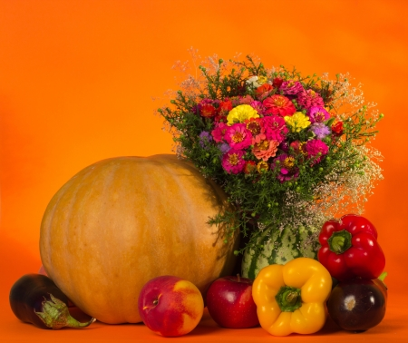 Autumn still life with pumpkin and fruit photo
