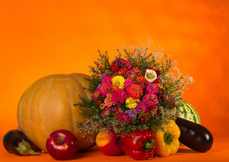 Autumn still life with pumpkin and fruit